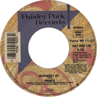 Alphabet St. single from Lovesexy, Paisley Park Records (1988)
